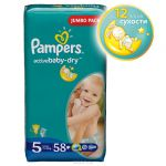 Pampers Active Baby Подгузники 5, 11-18 кг, 58 шт