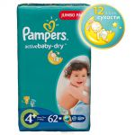 Pampers Active Baby Подгузники 4+, 9-16 кг, 62 шт